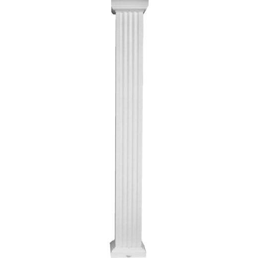 Crown Column 8 In. x 8 Ft. White Powder Coated Square Fluted Aluminum Column