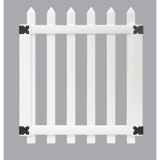 Outdoor Essentials 41-1/2 In. W. x 4 Ft. H. Spaced White Vinyl Picket Gate