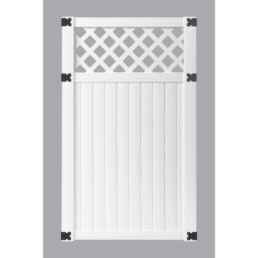 Outdoor Essentials 41-1/2 In. W. x 6 Ft. H. Lattice-Top White Vinyl Privacy Gate