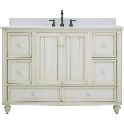 Sunny Wood Bristol Beach White 48 In. W x 34 In. H x 21 In. D Vanity Base, 2 Door/6 Drawer
