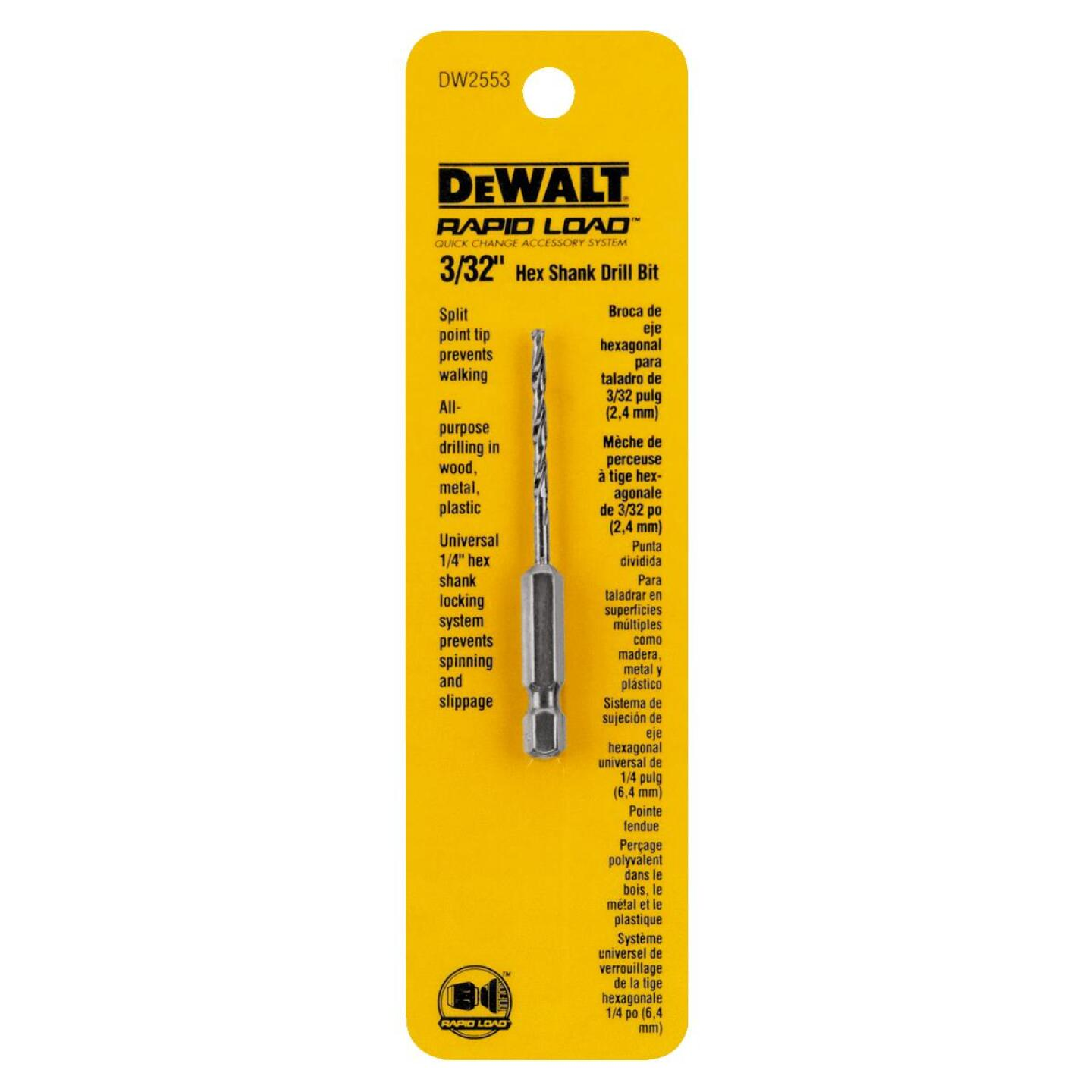 DeWalt Rapid Load 3/32 In. Black Oxide Hex Shank Drill Bit Image 1