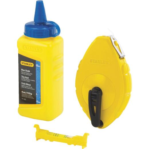Stanley 100 Ft. Chalk Line Reel and Chalk with Line Level, Blue