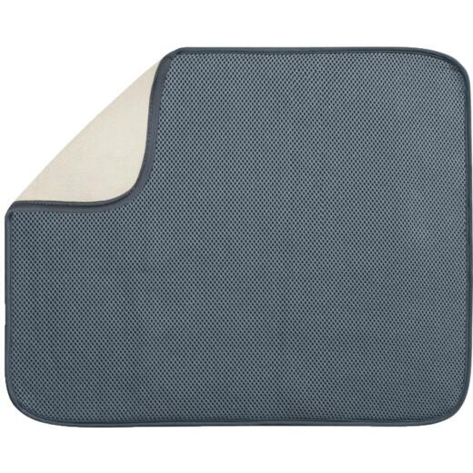 iDesign iDry 16 In. x 18 In. Pewter Microfiber Drying Sink Mat