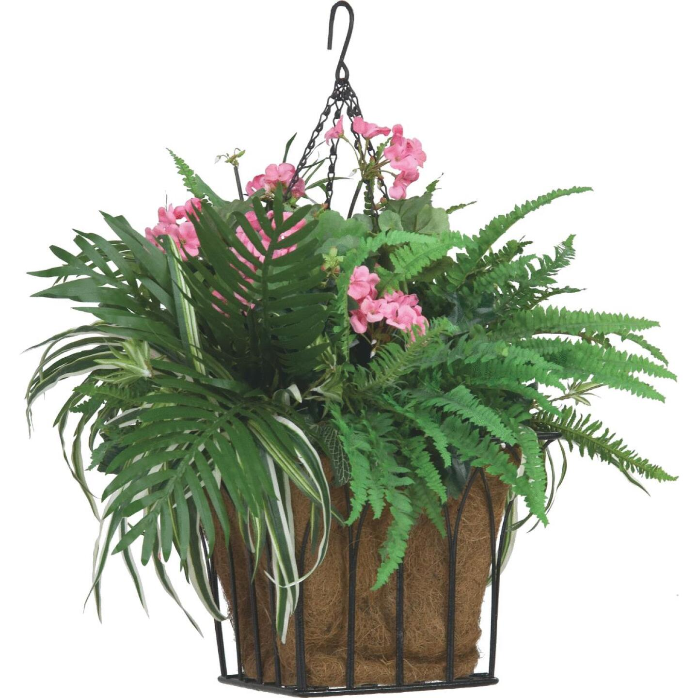 Best Garden 14 In. Steel Rod Black Hanging Plant Basket Image 2