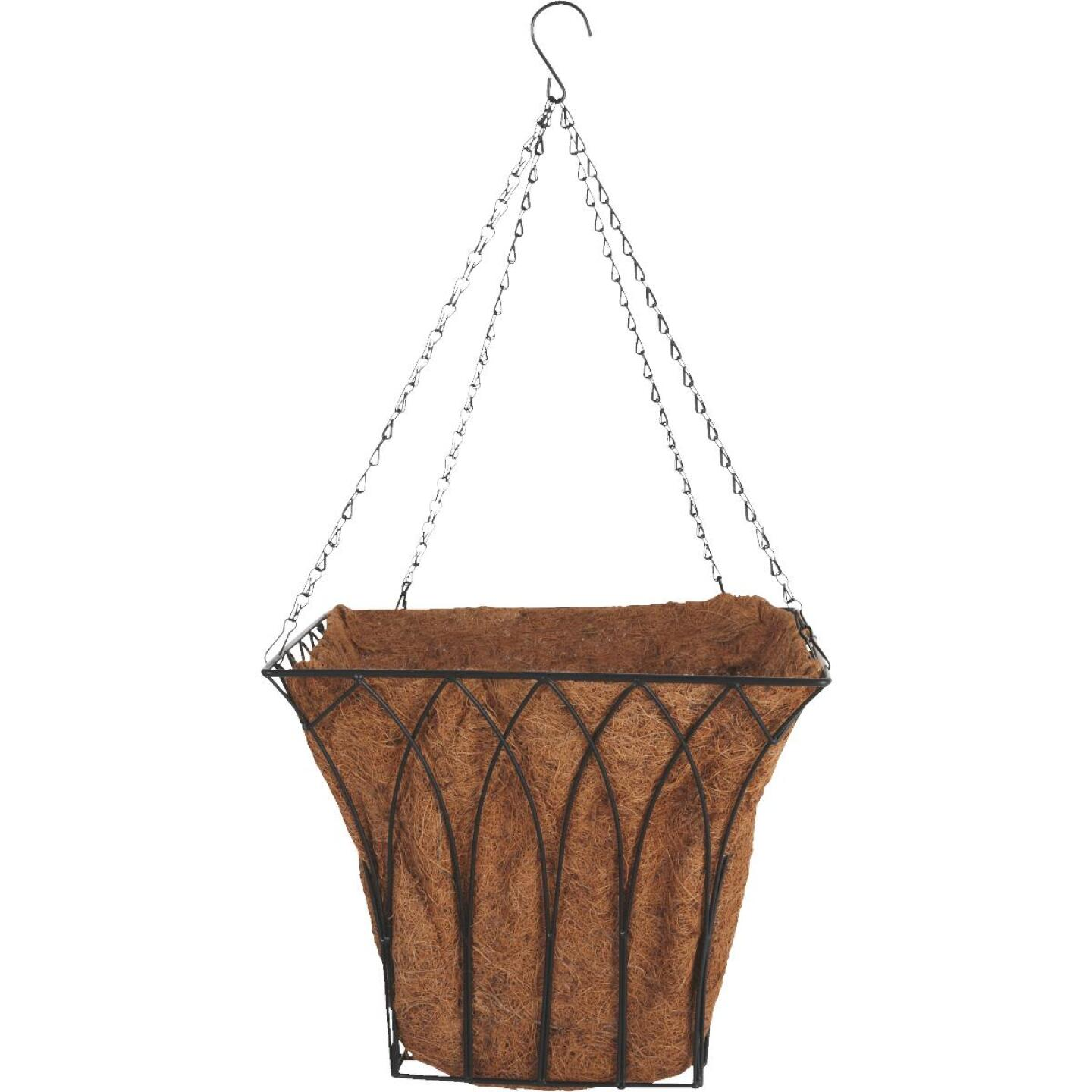 Best Garden 14 In. Steel Rod Black Hanging Plant Basket Image 1
