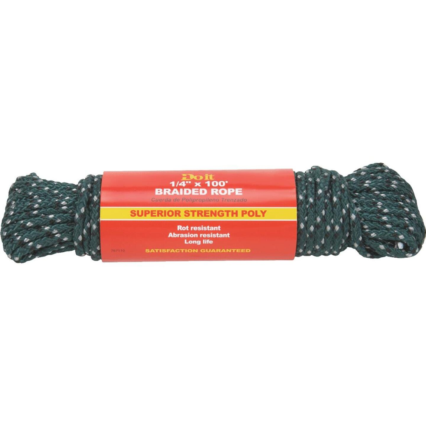 Do it 1/4 In. x 100 Ft. Green Double Braided Polypropylene Packaged Rope Image 1