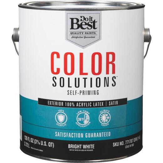 Do it Best Color Solutions 100% Acrylic Latex Self-Priming Satin Exterior House Paint, Bright White, 1 Gal.