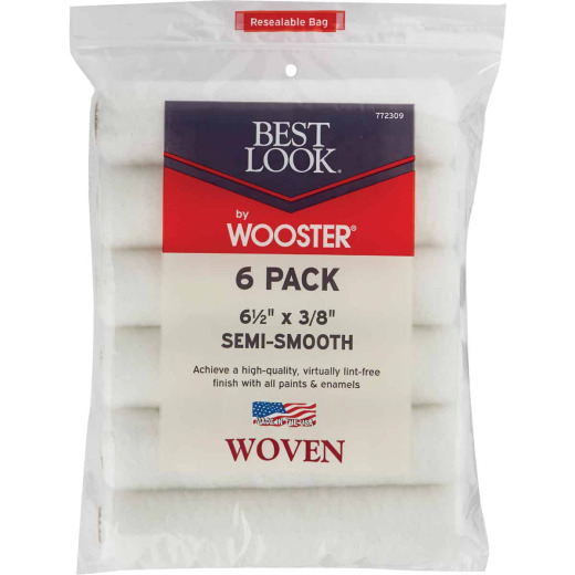 Best Look By Wooster 6-1/2 In. x 3/8 In. Mini Woven Fabric Roller Cover (6-Pack)